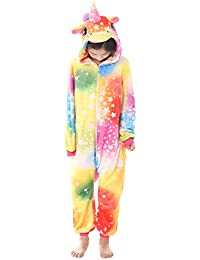 Dolamen Enfant Unisexe Kigurumi Combinaison Pyjama Onesies, Fille Garçon Fleece Anime Cosplay Halloween Noël Fête Costume Soirée de Déguisement Vêtement de Nuit
