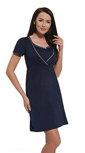 Nitis Umstandsmode Nightwear Nachthemd Nursing Schwangerschaft Stillfunktion / marine / Gr. L (Nachthemd Nursing Kleid)