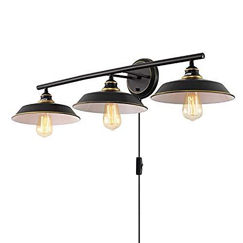 3-Licht Vanity Lights Plug in Industrie Wandleuchte Öl eingerieben Bronze Finish Bauernhaus Wand Lampenschirm für Badezimmer Küche Wohnzimmer Cafe -
