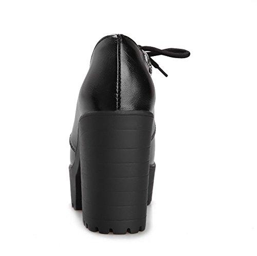 AgooLar Damen Rund Zehe Hoher Absatz Weiches Material Rein Schnüren Pumps Schuhe Schwarz