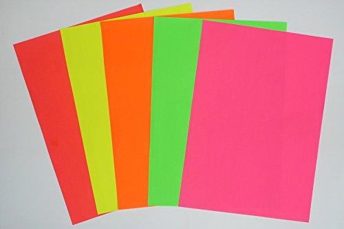 WKS Leuchtkarton NEON Farben sortiert DIN A2, 270g/qm 100 Bogen tagesleuchtfarben Neon-plakate