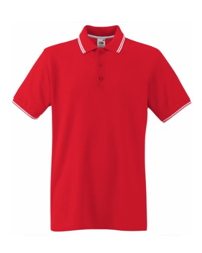 Fruit Of The Loom Tipped Polo Shirt für Männer (XL) (Rot/Weiß) XL,Rot/Weiß (Polo Kontrast)