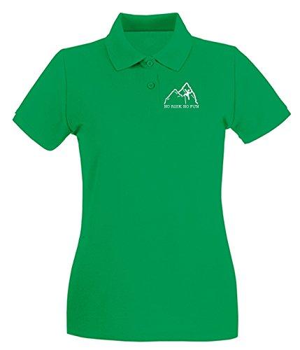 T-Shirtshock - Polo pour femme SP0117 No Risk No Fun Climbing Maglietta Vert