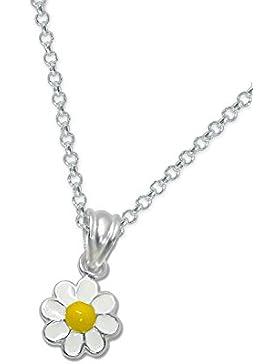 Laimons Kids Kinder-Anhänger mit Kette Gänseblume Gelb, Weiß Sterling Silber 925