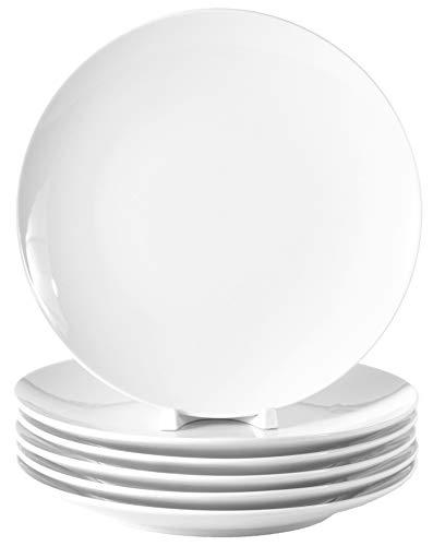 Lot de 6 assiettes plates en porcelaine véritable Ø 240 mm Blanc Idéal pour peindre (vaisselle de table pour la restauration et la maison)