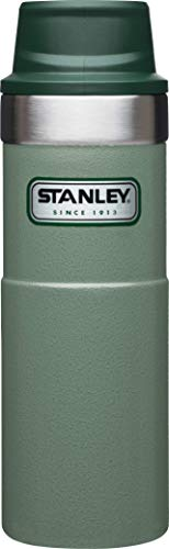 Stanley Legendary Classic Einhand-Vakuum-Thermobecher 0.47 L, Hammertone Green, 18/8 Edelstahl, Doppelwandig Vakuumisoliert, Isolierbecher Kaffeebecher Teebecher Trinkbecher