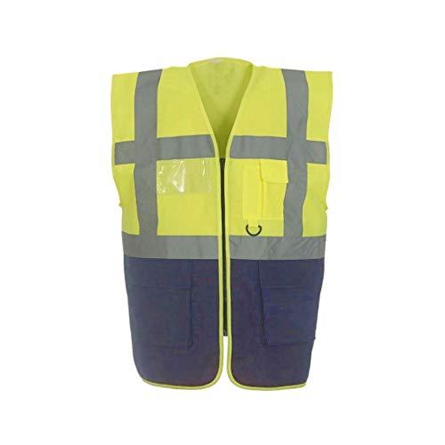 Islander Fashions Hallo Vis Viz Multifunktionale Weste Weste Erwachsene Warnweste mit hoher Sichtbarkeit Gelb Navy Medium -