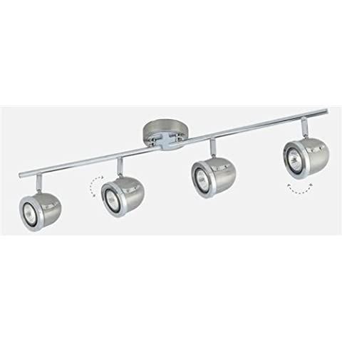 4 Light Satin Silver Chrome Adjustable Heads Gu10 Lamps