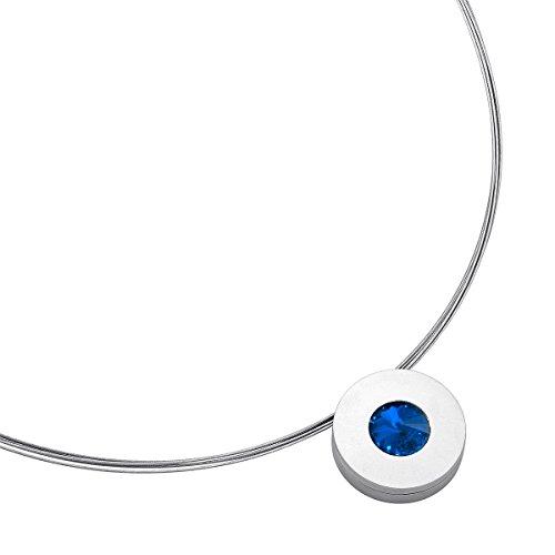 Heideman Halskette Damen Lumen aus Edelstahl Silber farbend matt Kette für Frauen mit Swarovski Stein Kristall Sapphire blau im Fantasie Edelsteinschliff 10mm