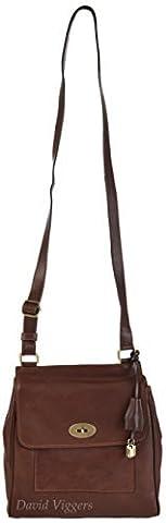 Gianni Conti Medium Brown Fine Italian Leather Satchel Crossbody Bag 914064