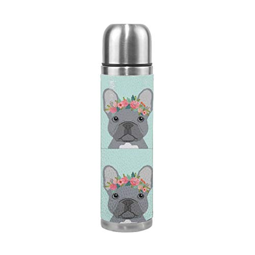 Frenchie Grey with Cut Lines - Dog Panel, Dog, Cut and Sew - Floral 17 Oz(500ML) Double Layer Leak-Proof Stainless Steel Vacuum Insulated Water Bottle -