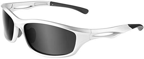 Balinco Polarisierte Sportbrille Sonnenbrille Fahrradbrille mit UV400 Schutz für Damen & Herren Autofahren Laufen Radfahren Angeln Golf (Glossy Silver - Smoke)
