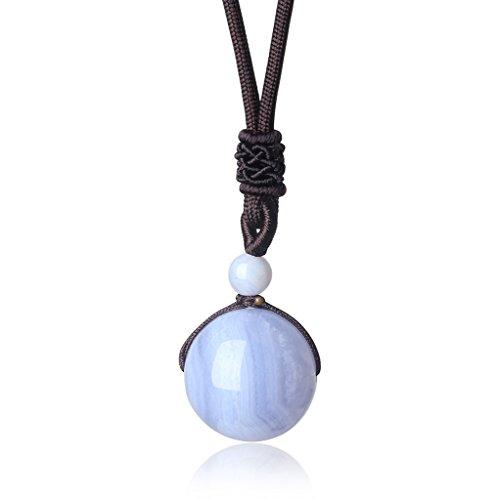 coai Geschenkideen Glückskette aus Chalcedon Blau mit Verstellbarer Nylonschnur Halskette Perle Anhänger für Damen und Herren