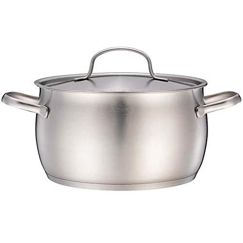 ZPF Großer Suppentopf aus rostfreiem Stahl, 7 Liter Gesunder, spiegelpolierter Mehrzweck-Suppentopf mit Deckel für den Familien-Outdoor-Kochgeschirr-Induktionstopf