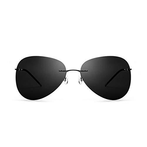 Sonnenbrillen Mode Persönlichkeit unregelmäßigen männer polarisierte sonnenbrille rahmenlose tr90 uv-schutz sonnenbrille für fahren baseball laufen radfahren angeln golf. ( Farbe : Schwarz )