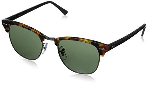 Ray-Ban Unisex Sonnenbrille Clubmaster Mehrfarbig (Gestell: Havana/Schwarz, Gläser: grün Klassisch 1157)), Medium (Herstellergröße: 51)