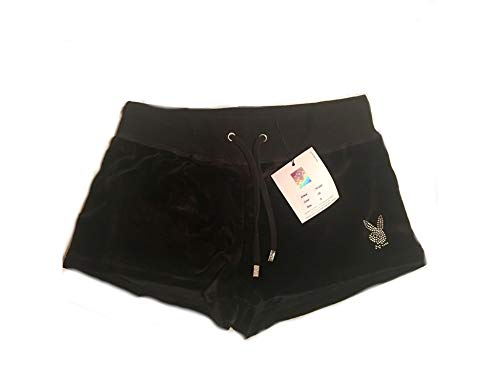 Playboy P101220 Damen Schwarz Small Short Panty Hotpants Kurz-Hose Sexy Frech Wild Elegant