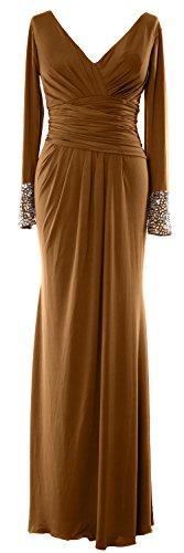 MACloth -  Vestito  - fasciante - Maniche lunghe  - Donna Brown 48