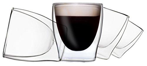 DUOS 4X 80ml doppelwandige Gläser, Espressogläser, Thermogläser - Set mit Schwebe-Effekt, auch für türkischen Tee geeignet, by Feelino ...
