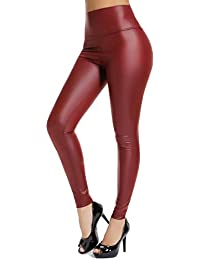 5980349287c0d Women's Sexy Faux Leather Leggings for Curvy Hips Stretchy PU High Waisted  Pants with Waistband Button