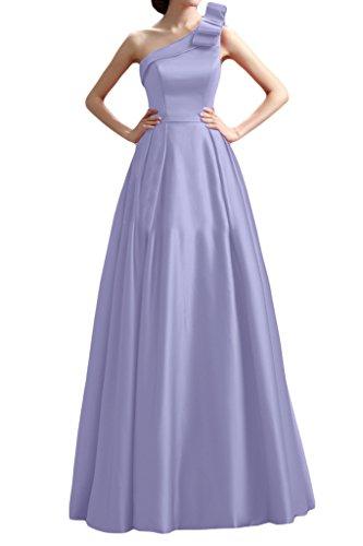 Sunvary Glamour Neu Ein-Schulter Schleife Satin Abendkleid Lang Ballkleider Lilac