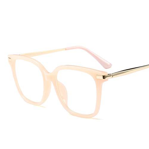 Chenyuan Frauen für Retro Half-Frame-Brillengestell Optische Brillen mit ultraleichten, klaren Gläsern (Farbe : Rosa)