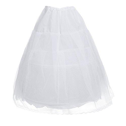 YiZYiF 2 Ringe Kinder Reifrock Mädchen Unterrock Tüll Krinoline Petticoat Rock (Weiß)