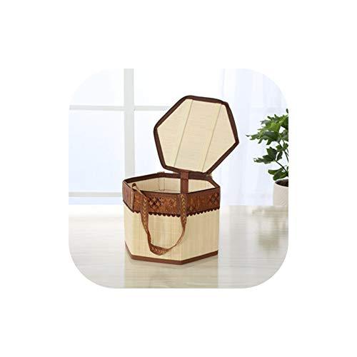 Gezellig Vesper Baskets Bambus gewebt Picknickkorb Hamper Einkaufsablagekorb mit Deckel und Griff -