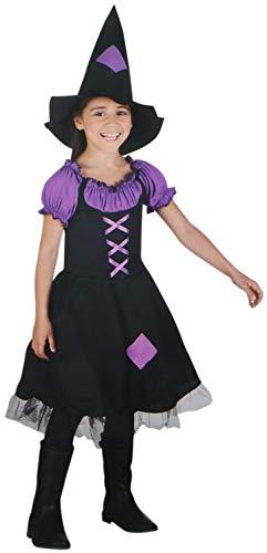 com-four® Kinder-Kostüm Hexe für Mädchen, ideal für Fasching, Karneval oder Halloween (01 Stück - Hexe lila 10-12 J.) (Im Für Mädchen Von Alter 11 Halloween-kostüme)