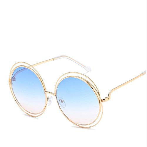 ZHOUYF Sonnenbrille Fahrerbrille Etro Round Large Size Large Lens Spiegel Sonnenbrille Damen Metallrahmen Damen Sonnenbrille Damen, N