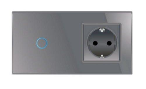 Lichtschalter/Steckdose Touchscreen, Glas Touchscreen Grau Livolo -