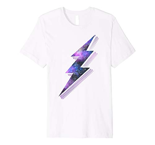 Purple Galaxy Lightning Bolt Hipster Graphic T-Shirt