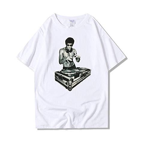 Sportswear-MZ Street Männer japanischen Filmdruck J Musik Lee Langes kurzärmeliges Baumwollhemd_XXXL