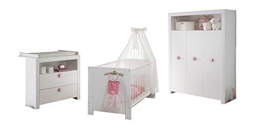 trendteam Babyzimmer 3-teiliges Komplett Set Olivia in Weiß  mit Filzapplikation in Violett, viel Stauraum und pflegeleichten Oberflächen