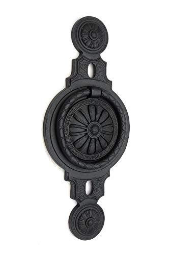 Türklopfer antik, reich verziert, groß, handgefertigt aus Eisen, schwarz   EW018