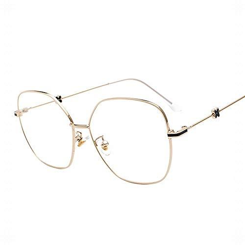 Retro Polygon Unregelmäßiger Anti-Blauer Brillenrahmen. Brille (Farbe : Gold)