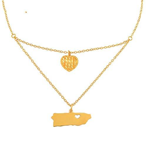 NSXLSCL Halsketten Für Frauen,Mode Herzen Puerto Rico Karte Anzeigen Anhänger Halsketten Für Frauen Mädchen Gold Farbe Pr Puerto Ricaner Schmuck des Giftsfor