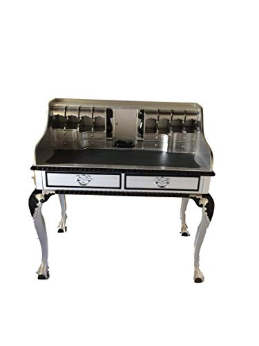 Antiker Sekretär Barock Louis Seize Renaissance Rokoko Farbe:Silber mit Schwarz Schreibtisch...