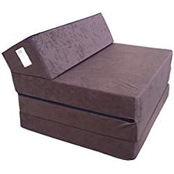 Matelas lit fauteuil futon pliable pliant choix des couleurs - longueur 200 cm ( 30943-Marron)