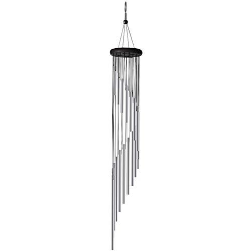 ABREOME Windspiel Chimes , Klangspiele Windspiele Deko mit Klang Aluminium groß Gesamtlänge 91cm für draußen Balkon Garten, Silber