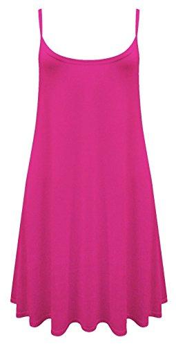 NEW dernière Cami Débardeur pour femme bretelles imprimé Swing robe longue sans manches pour femme Mesdames Tops Cerise