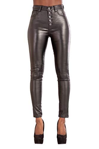 Damen Jeans Hose High Waist Jeans für Damen Übergrößen Jeans Röhrenjeans Lederlook (44, Schwarz mit Knöpfen)