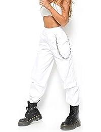 X-xyA Pantalones De Carga para Mujer Pantalones De Hiphop Punk Jogger Sport Harem,A,M