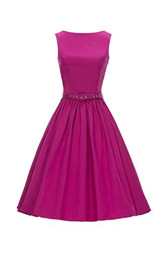 iLover 50s Vintage Rockabilly Blumenkleid Hepburn Stil Partykleid Cocktailkleid 50er Jahr Abendkleid (EU 46(XXXL), V031-Rose)