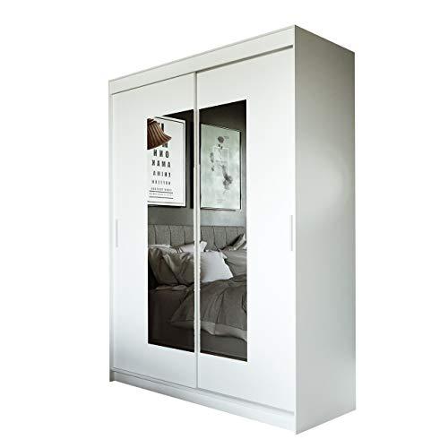 Mirjan24  Kleiderschrank Persi IV mit Spiegel, Elegante Schwebetürenschrank, Schlafzimmerschrank, Jugendzimmer, Schlafzimmer, Diele und Flur, Schiebetür (Weiß, 150 cm)