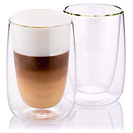 Premium Double Walled Coffee Glasses by Mud & Straw. Pack of 2 Latte Cappuccino Thermo Insulated Glass