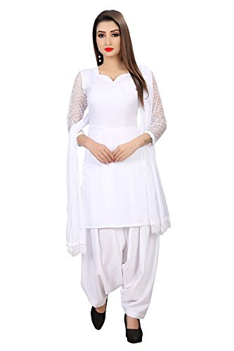 EyesOnMe Women's White Crepe Salwar Suit(Unstitched)