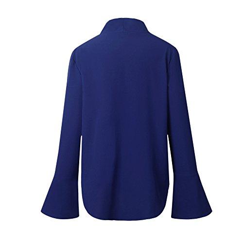 Bluse Top da Ufficio e Partito Sweatshirt Donne del V Collo Manica Lunga Camicia Magliette Casuali delle Camicette della Blu reale