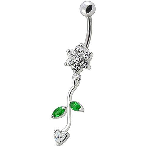 Coeur et Pierre en cristal fleur tendance Design en argent 925 avec acier inox Belly White