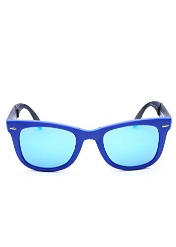 Ray-Ban RB4105 Folding Wayfarer, Occhiali da sole da uomo, Azzuro ( Matte Blue ), S